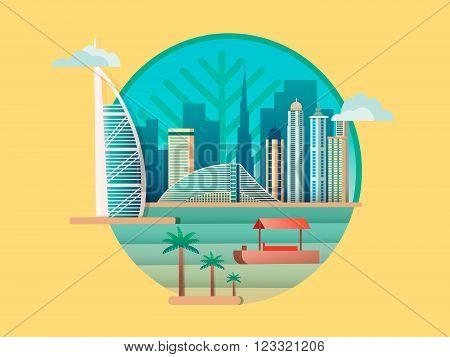 Dubai city building icon. Skyscraper city, tower architecture emirates, vector illustration