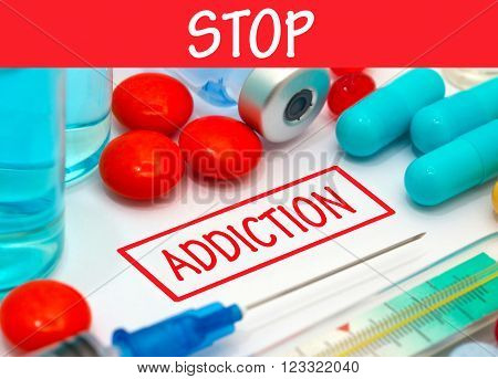 Stop addiction. Vaccine to treat disease. Syringe and vaccine with drugs.