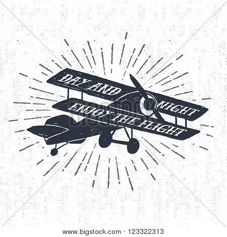 Hand drawn textured vintage label retro badge with biplane vector illustration and