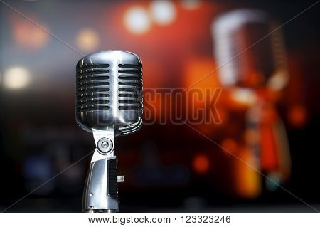 chrome retro microphone close-up, karaoke, background music
