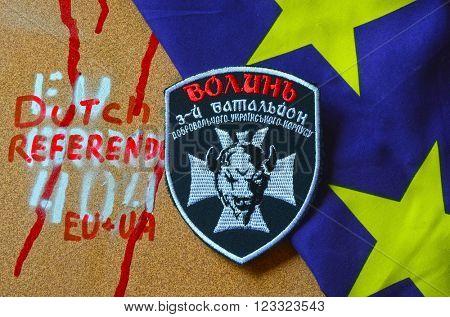 Kiev,Ukraine.FEB 20.ILLUSTRATIVE EDITORIAL.Chevron Ukrainian nazionalist battalion Wolin-3.February 20,2016 in Kiev, Ukraine
