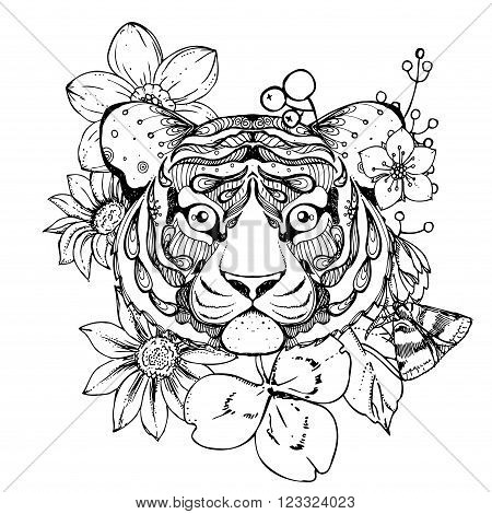 hand drawn ink doodle tiger and flowers on white background. Coloring page - zendala design forr adults poster print t-shirt invitation banners flyers.