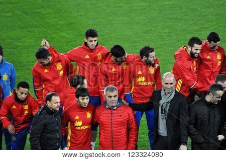 CLUJ-NAPOCA ROMANIA - MARCH 26 2016: The National football team of Spain making a group photo on the field during the warm-up before the Romania-Spain friendly match