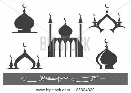 Mosques icons. Black mosque emblems set. Vector illustration