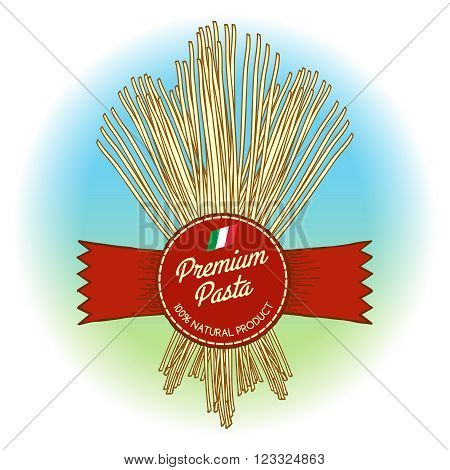 Premium pasta label. Hand drawn vector pasta label with flag of Italy. Vector illustration