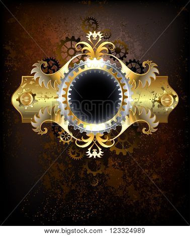 Brass Steampunk banner with gears and a pattern on an old rusty textured background. Steampunk design.
