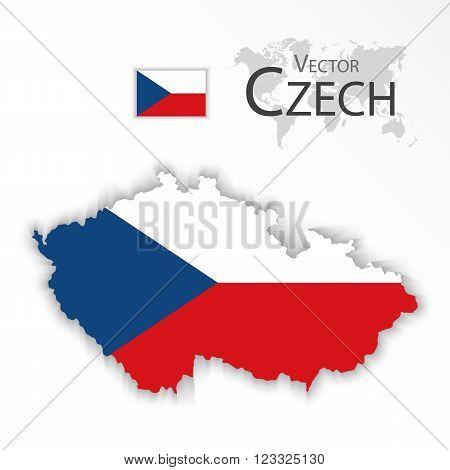 Czech Republic ( flag and map ) ( transportation and tourism concept )