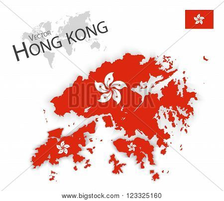 Hong Kong ( Hong Kong Special Administrative Region of the People's Republic of China ) ( flag and map ) ( transportation and tourism concept )