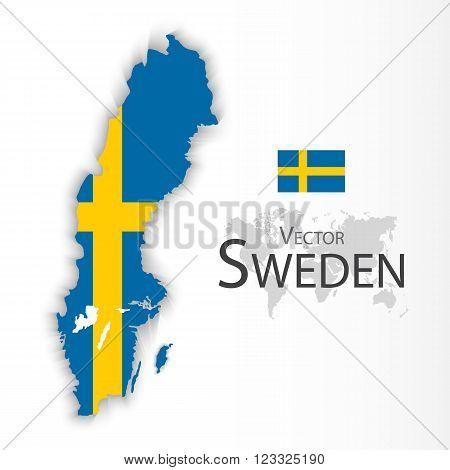 Kingdom of Sweden ( flag and map ) ( transportation and tourism concept )