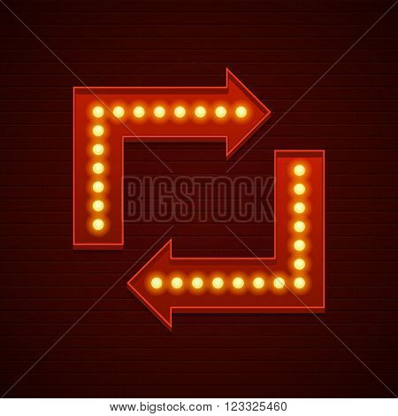 Retro Showtime Sign Design. Arrows Cinema Signage Light Bulbs and Neon Lamps on brick wall background. American advertisement style vector illustration.