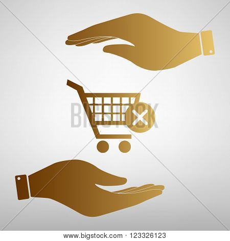 Shopping Cart and X Mark Icon, delete sign. Save or protect symbol by hands. Golden Effect.