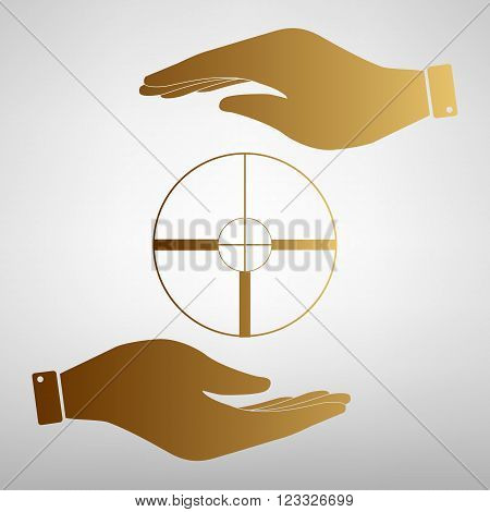 Crosshair Target  sign. Save or protect symbol by hands. Golden Effect.