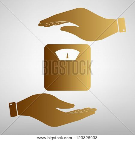 Bathroom scale sign. Save or protect symbol by hands. Golden Effect.