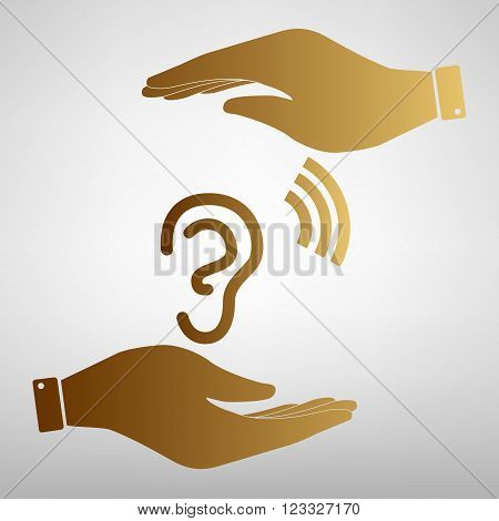 Human ear sign. Save or protect symbol by hands. Golden Effect.