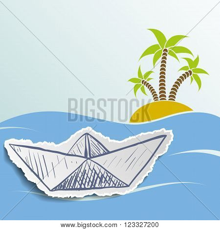 Island with palm trees in the ocean. Cruise ship. Travel background. Stock vector illustration.