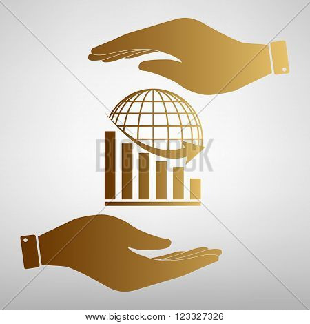 Declining graph  with earth. Save or protect symbol by hands. Golden Effect.