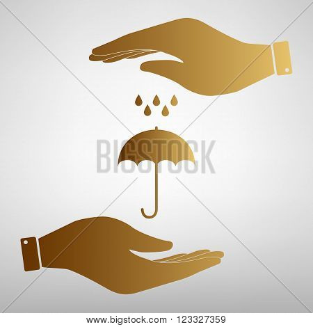 Umbrella with water drops. Rain protection symbol. Save or protect symbol by hands. Golden Effect.