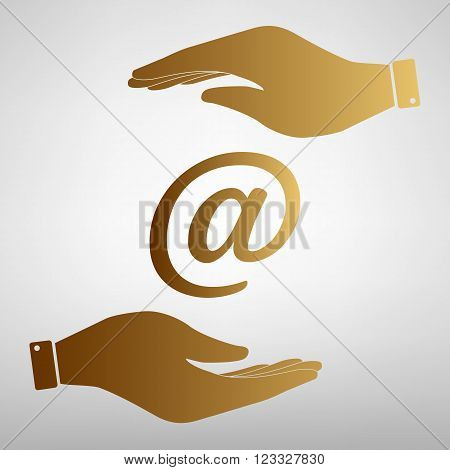 Mail sign. Save or protect symbol by hands. Golden Effect.