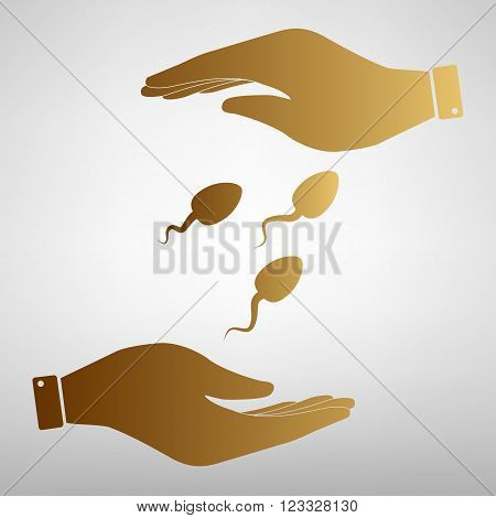 Sperms sign. Save or protect symbol by hands. Golden Effect.