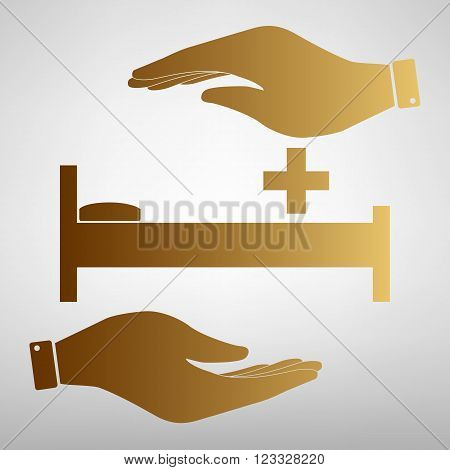 Hospital sign. Save or protect symbol by hands. Golden Effect.