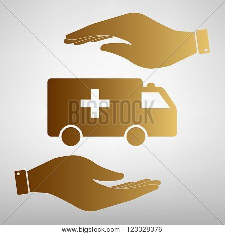 Ambulance sign. Save or protect symbol by hands. Golden Effect.