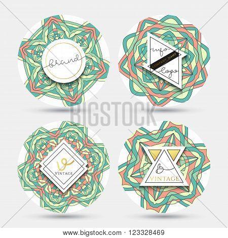 Set of 4 label with the mandala . Set sticker mandala . Embleme geometric mandala . Set of labels with geometric mandala pattern