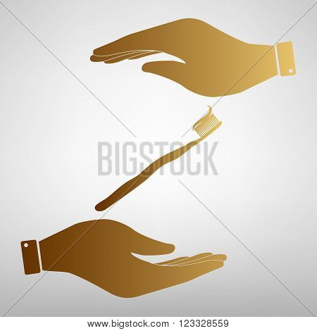 Toothbrush with applied toothpaste portion. Flat style icon vector illustration.