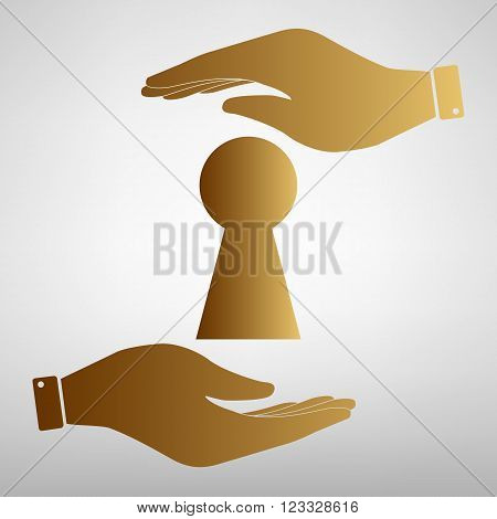 Keyhole sign. Save or protect symbol by hands. Golden Effect.