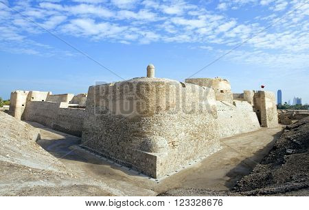 Manama, Bahrain - December 13, 2006: The Portuguese fort of the XVI century also known as Bahrain Fort.