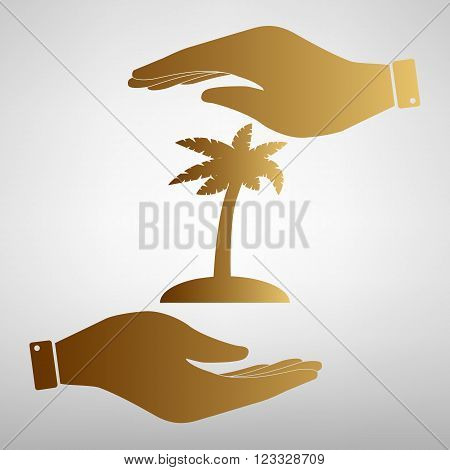Coconut palm tree sign. Save or protect symbol by hands. Golden Effect.