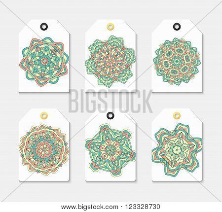 Set of 6 label with the mandala . Set sticker mandala . Embleme geometric mandala . Set of labels with geometric mandala pattern