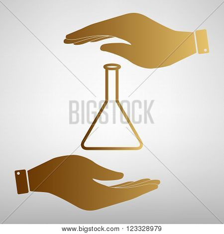 Conical Flask sign. Save or protect symbol by hands. Golden Effect.