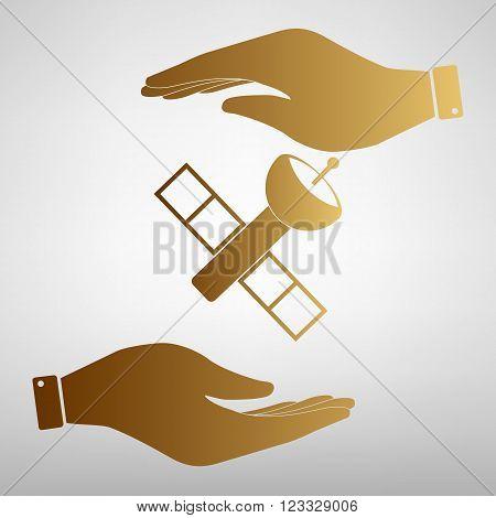 Satellite sign. Flat style icon vector illustration.