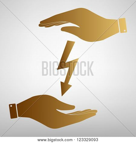 High voltage danger sign. Flat style icon vector illustration.