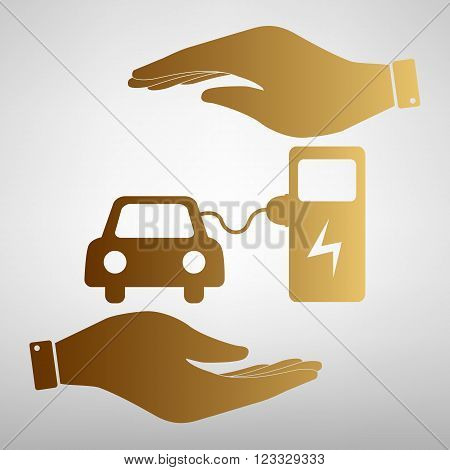 Electrocar battery charging sign. Save or protect symbol by hands. Golden Effect.