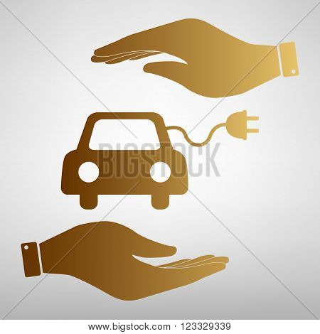 Eco electrocar sign. Save or protect symbol by hands. Golden Effect.