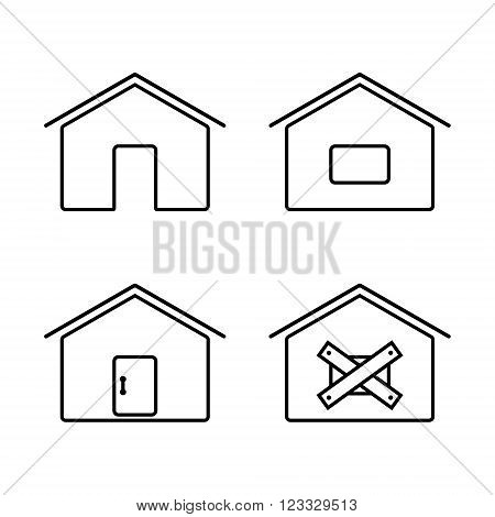A set of simple lines web icons with a door, window, roof.