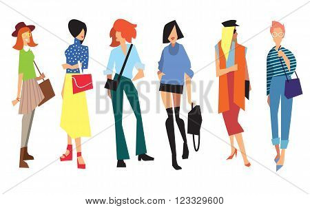 Beautiful young women in fashion clothing. Isolated vector lady on white background.
