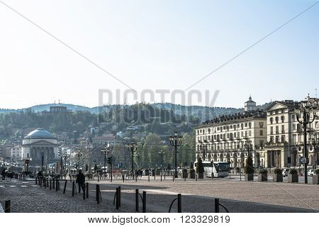 Turin,Italy,Europe - April 5, 2014 : View of Vittorio Square and Turin hills