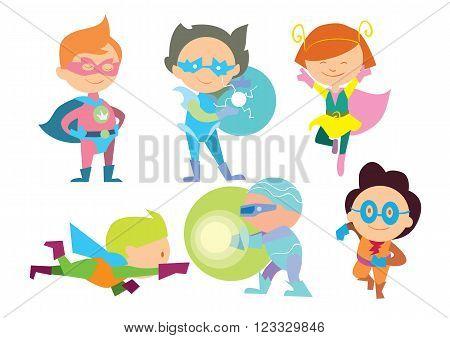 Superhero kids isolated on white ackground. Superhero costume for kids. Super child. Fun game.
