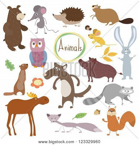 Wild and forest vector animals in white background. Animals set. Cartoon animals characters illustration. Funny Animals. Isolated animals. Differet vector animals. Animals colletion. Forest animals. Cute animals.