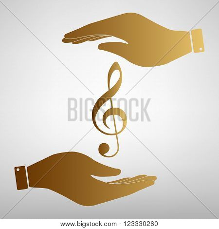 Music violine clef sign. Flat style icon vector illustration.