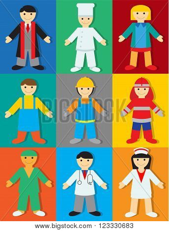 Professions on Color Background with Shadows. Vector Illustration of People of Different Professions for Children.