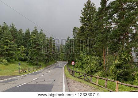 Mountain road on a rainy day, in Poiana Brasov, Brasov county