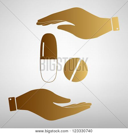Medical pills sign. Save or protect symbol by hands. Golden Effect.