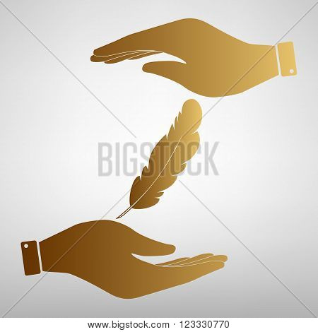 Feather sign. Save or protect symbol by hands. Golden Effect.