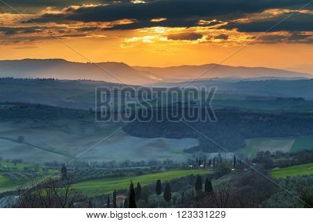 Sunset at Pienza, over Val D'Orcia, Tuscany