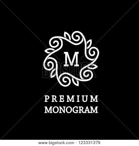 Stylish  graceful floral monogram made of wide white stripes Overlapping with shadows.  Elegant line art logo, emblem design .