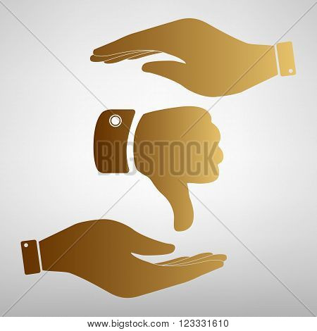 Hand sign. Save or protect symbol by hands. Golden Effect.