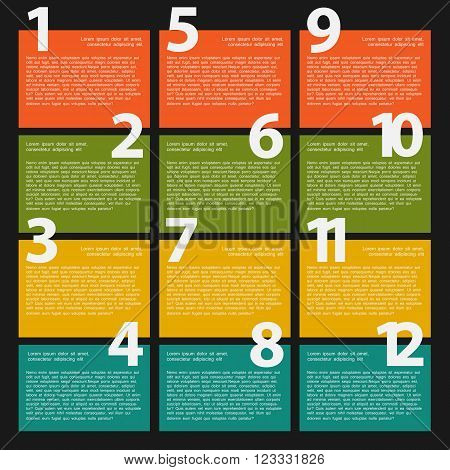 12 Twelve colorful text box with steps for infographics presentations stages web design poster flyer banner.